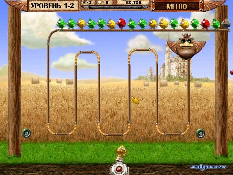Жанр игры Птички на проводе Зума , Детские , Шарики , Стрелялки