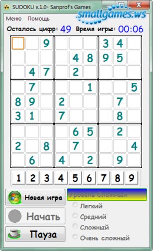 Sudoku v.1.0 Sanprof's Games